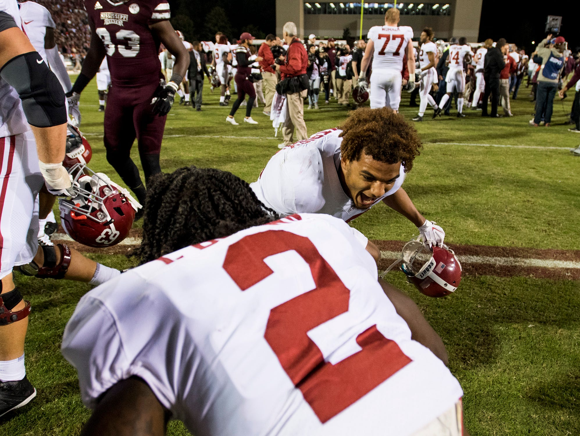 Alabama defensive backs Minkah Fitzpatrick (29) and Tony Brown (2) celebrate after defeating Mississippi State in Starkville, Ms. on Saturday November 11, 2017. (Mickey Welsh / Montgomery Advertiser)