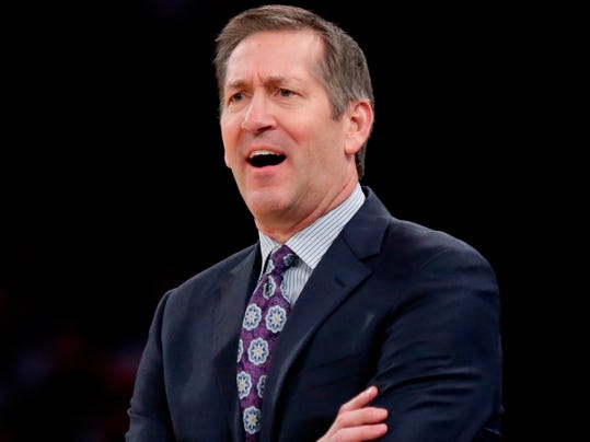 FILE - In this March 15, 2018 file photo, New York Knicks head coach Jeff Hornacek calls to his team during the first half of an NBA basketball game against the Philadelphia 76ers, in New York. The New York Knicks have fired coach Hornacek after two seasons, a person with knowledge of the decision said early Thursday, April 12, 2018.(AP Photo/Frank Franklin II, File)