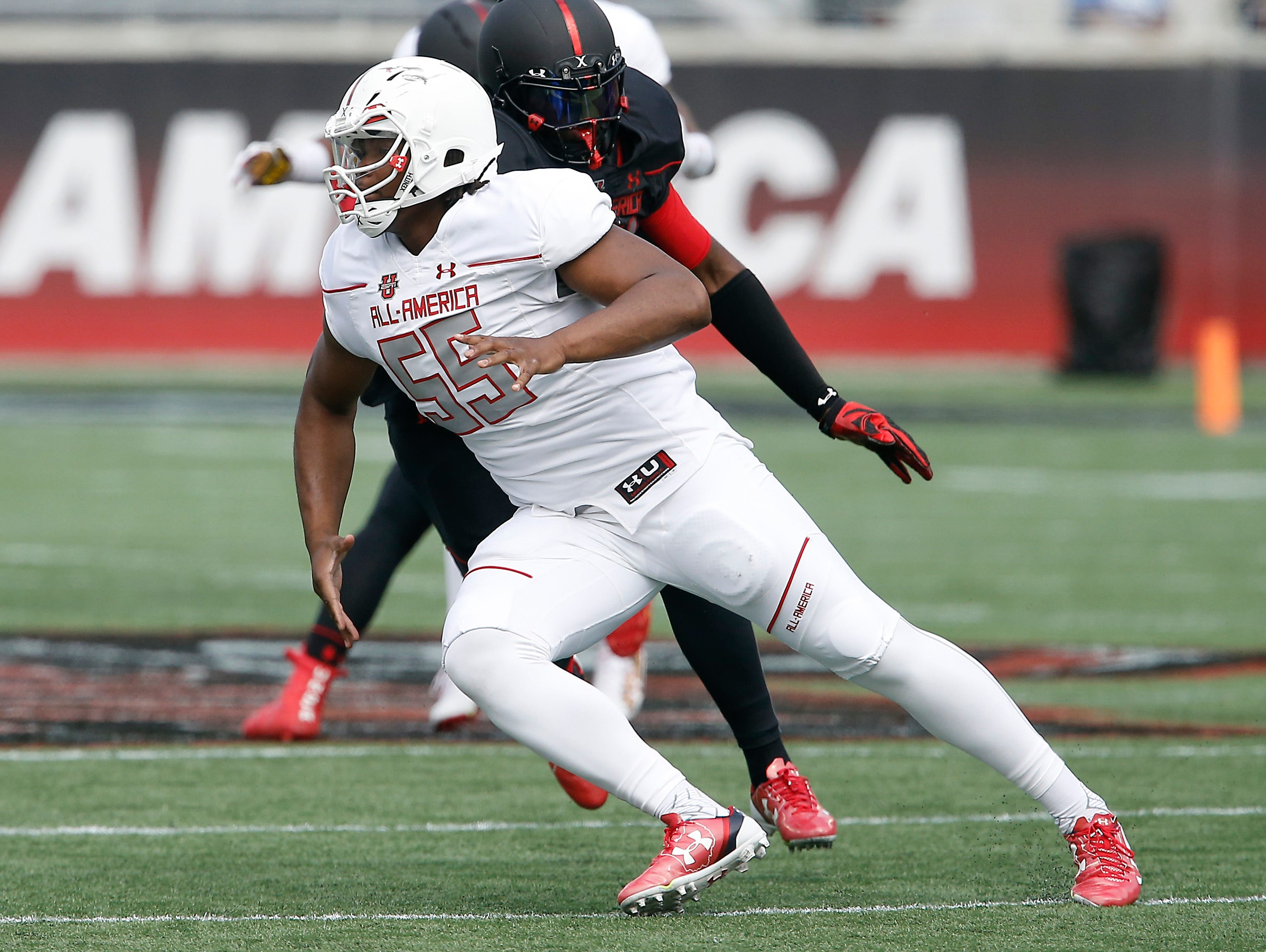 Rashan Gary rushes during the second half of the Under Armour All-American Game at the Orlando Citrus Bowl.