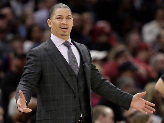 FILE - In this Jan. 20, 2018, file photo, Cleveland Cavaliers head coach Tyronn Lue reacts in the first half of an NBA basketball game against the Oklahoma City Thunder in Cleveland. A person with direct knowledge of the situation says the Cavaliers have no plans to fire Lue despite the team's troubling slide. (AP Photo/Tony Dejak, File)