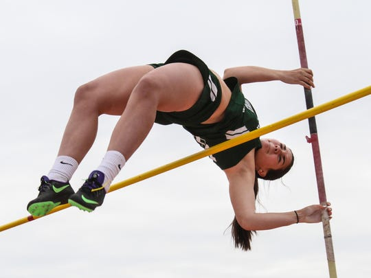 Villa Walsh's Maura Hager competes in the pole vault