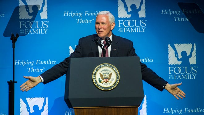 Vice President Pence speaks at Focus on the Family's 40th anniversary celebration Friday, during his visit to Colorado Springs, Colo.