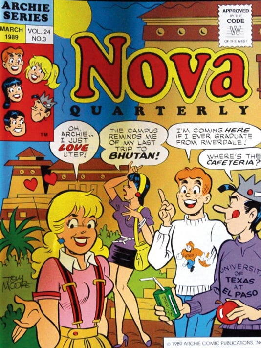"Times A special edition of UTEP's Nova Quarterly from 1989 featured long-time ""Archie"" comic book cartoonist Tom Moore, who died Monday. The cover depicts the Archie gang on the UTEP campus."