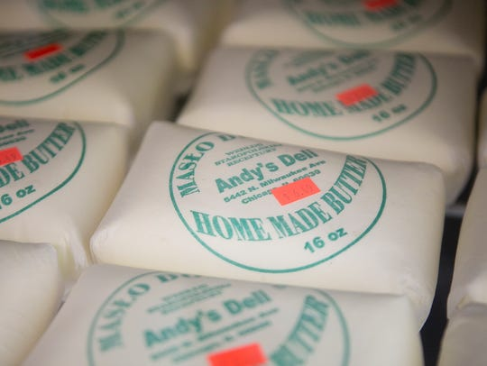 Home made butter on display at Adams Polish Deli in