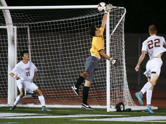 Caravel goalkeeper Chase Corbitt had nine saves as the Buccaneers defeated St. Mark's in the DIAA Division II quarterfinals Saturday night.