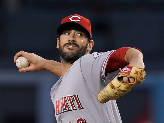 Cincinnati Reds starting pitcher Matt Harvey throws during the first inning of the team's game against the Los Angeles Dodgers on Friday, May 11, 2018, in Los Angeles, his first game as a Red.
