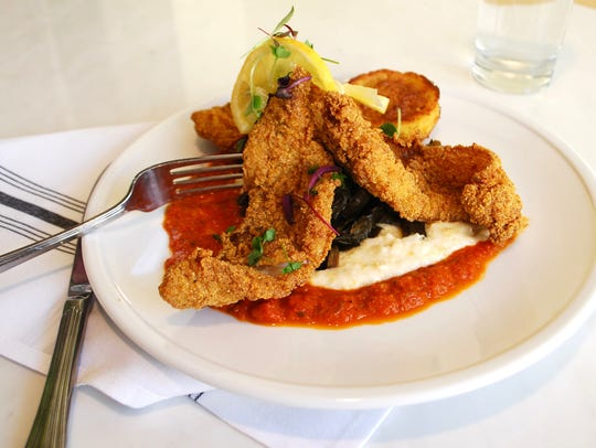Fried flounder, grits, collards and tomato gravy at