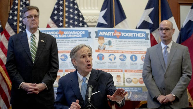 Lt. Gov. Dan Patrick, left, Gov. Greg Abbott and House Speaker Dennis Bonnen, R-Lake Jackson, in May asked state agencies to reduce their budgets by 5%.