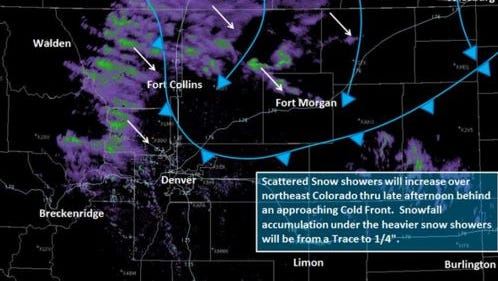 This radar image from the National Weather Service shows snow showers moving in behind a cold front on Wednesday.