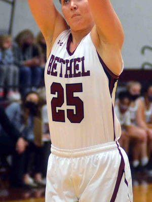 Bethel senior Abby Schmidt scored 25 points with 18 rebounds Wednesday in a 69-58 win over York College. It was Schmidt's 50th career double-double.