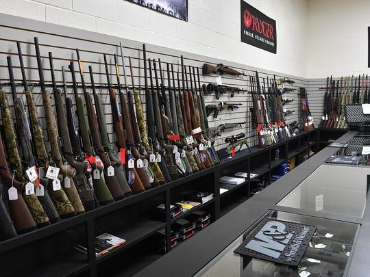 The gun vault at High Caliber Indoor Gun Range has