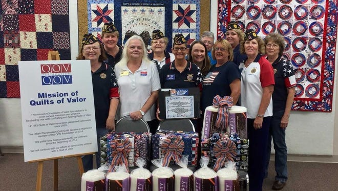 "Thanks to donations by post members as well as proceeds from a fundraiser, Post 1214 was able to donate 190.5 yards of fabric, nine rolls of batting and a check for $606 to go towards the ""Quilts of Valor"" program."