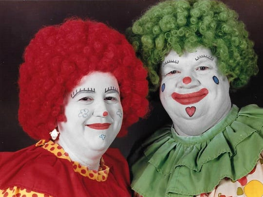 Joyce Schrum, left, and her late husband, Robert Schrum Jr., performed as clowns for decades. When Robert died in 2008, he had clown pallbearers at his funeral. Joyce turns down requests to scare people fearful of clowns.