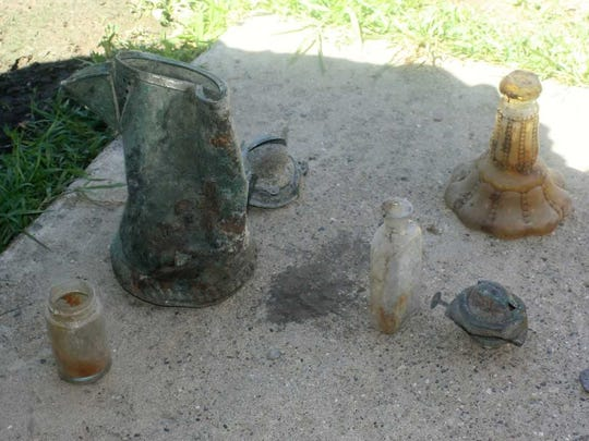 Artifacts found in the area behind the former Starkweather
