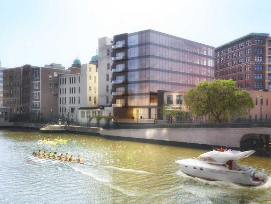 The office building on the downtown riverfront will