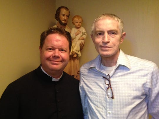 "The Rev. Chad Partain (left), pastor of St. Frances Cabrini Church in Alexandria, said the next step in the ""miracle"" story of Daniel Brooks (right) is collecting medical reports and witness statements that can be notarized and forwarded for consideration by the Catholic Church to determine if Brooks' healing is the second miracle Bleesed Father Seelos needs to be eligible for canonization as a saint."