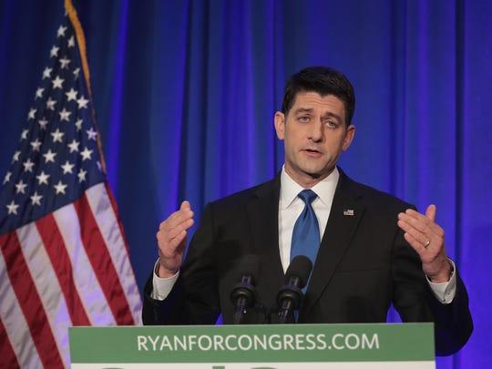 Paul Ryan speaks to the press on Nov. 9, 2016, in Janesville, Wis.