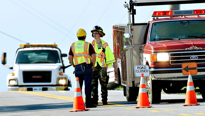 Officials investigate after a pedestrian was struck and killed by a vehicle along Windsor Road in Windsor Twp., just north of the Route 74 (Delta Road) intersection on Tuesday, April 26, 2016.  (Dawn J. Sagert photo)