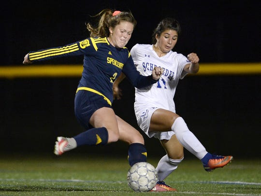 Spencerport's Erin Coykendall, left, winds up a shot