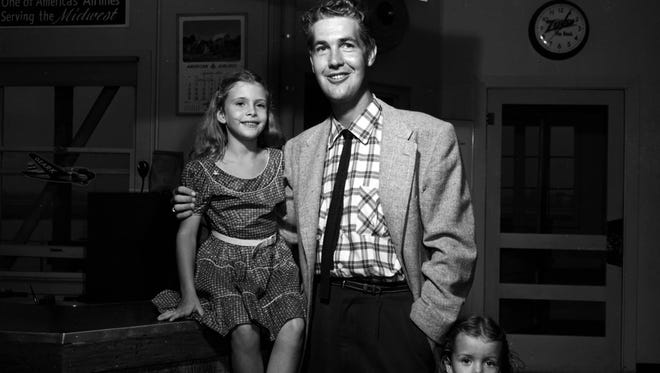 Songwriter Jim Lowe with nieces Cindy (left) and Missy Lowe ca. 1953