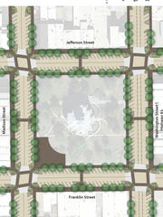 A rendering shows the planned streetscape work around the town square in Bloomfield