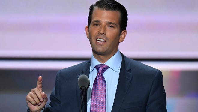Donald Trump, Jr., speaks during the 2016 Republican National Convention in Cleveland on July 19, 2016.
