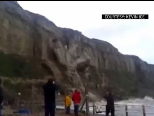 Watch: Dramatic video of cliff collapse into the sea