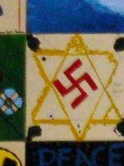 One of the swastikas in a Holocaust memorial at Pinelands Regional Junior High School in Little Egg Harbor.