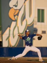 FGCU pitcher Mario Leon pitches against USF at Swanson Stadium Wednesday, March 22, 2017 in Fort Myers.
