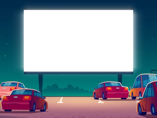 cartoon drawing of cars at drive-in theater
