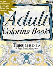 The cover of the adult coloring book included in the