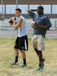 Current Plymouth quarterback Jonah Peterson (left)