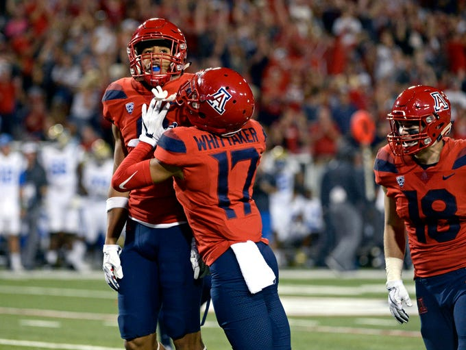 Oct 14, 2017; Tucson, AZ, USA; Arizona Wildcats defensive