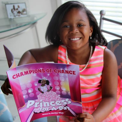 Jordan West, 7, of Greece wrote a book Princess for