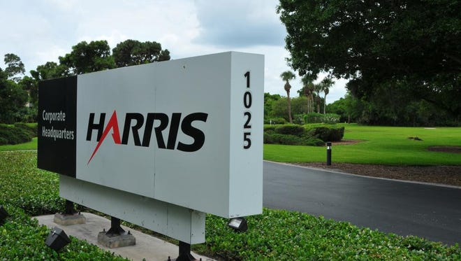 MALCOLM DENEMARK/FLORIDA TODAY Harris Corp. headquarters is near Melbourne International Airport. Harris Corp. Headquarters on Nasa Blvd. Hi tech aeronatuic firms and corporations around Melbourne International Airport.