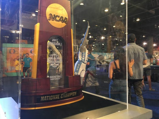 The official national championship trophy was displayed
