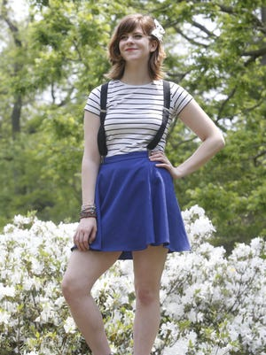 Mount Pleasant High School graduating senior Emma Chambless is photographed at Bellevue State Park wearing a striped t from H+M, skirt from Sears, suede Oxfords from Payless Shoesource, socks from Wet Seal. Among the accessories are bracelets from various boutiques, a home-made ribbon on a hair clip and suspenders worn by her father when her parents married.