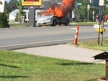 Minivan catches fire in West Manheim