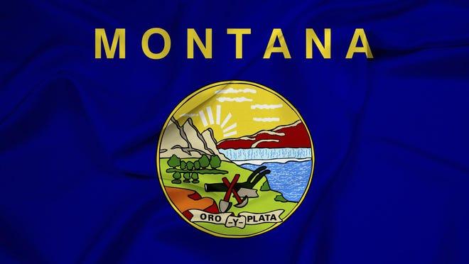 Waving Montana State Flag