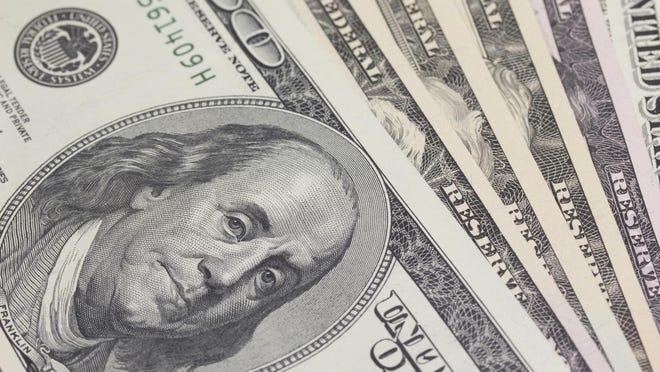 Background with $100 bills.