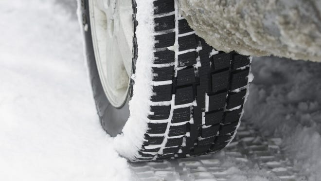 Car tire and snow
