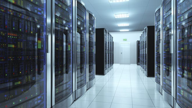 What a typical server room in a datacenter looks like.