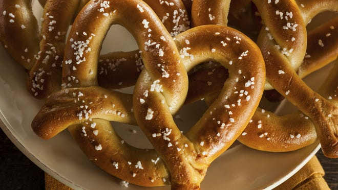 Homemade soft pretzels with salt taste great with mustard.