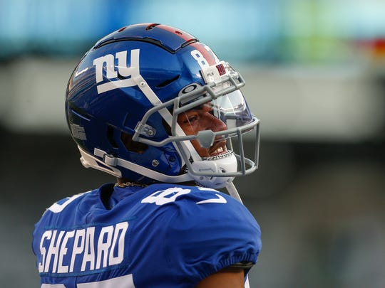 New York Giants wide receiver Sterling Shepard (87) warms up before an NFL football game against the Chicago Bears, Friday, Aug. 16, 2019, in East Rutherford, N.J. (AP Photo/Adam Hunger)