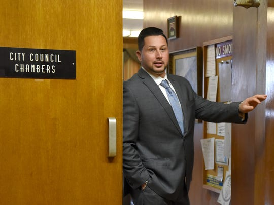 Suspended Hackensack Detective Rocco Duardo leaves the City Council chambers during a lunch break Monday in a hearing to determine punishment stemming from his participation in an illegal search at an apartment on Prospect Avenue in December 2016.