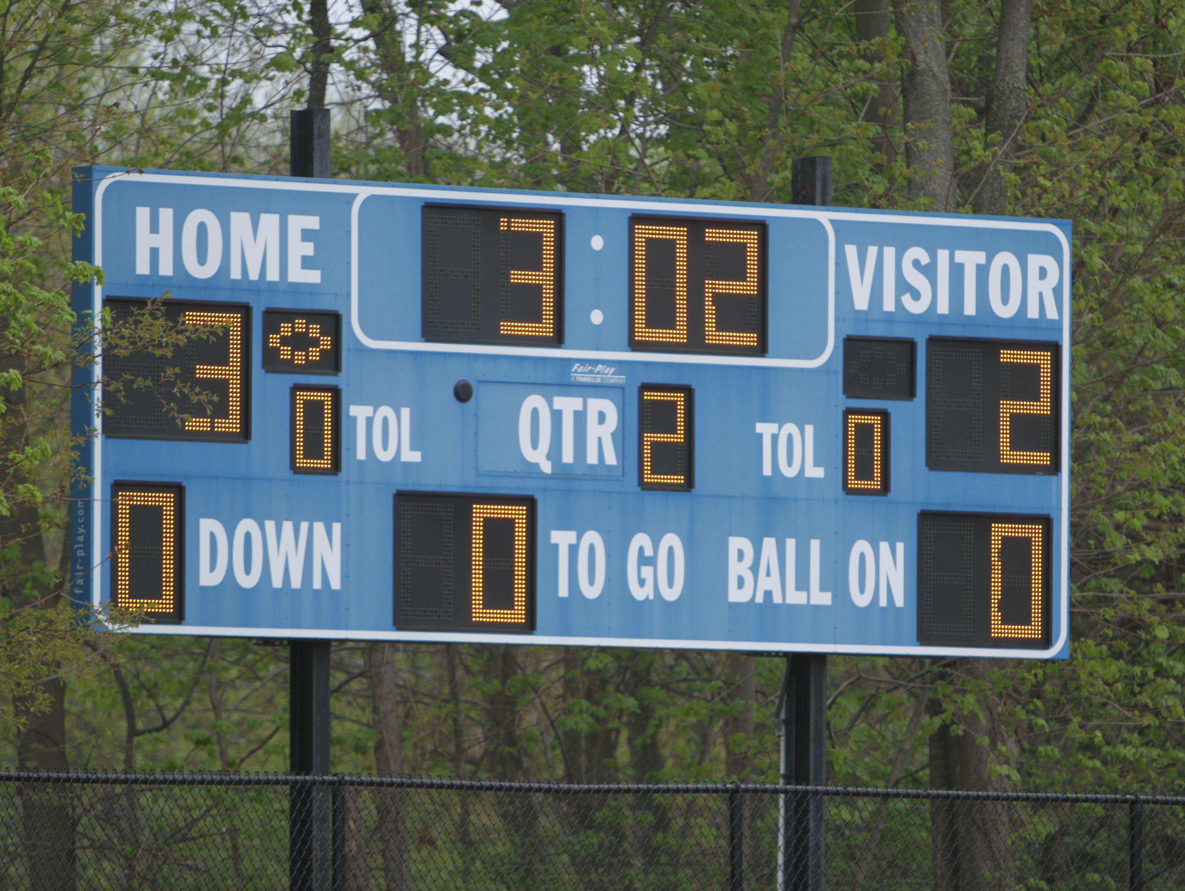 Blind Brook High School scoreboard.