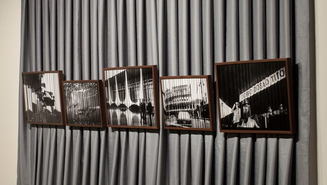 """Vesna Pavlovic, """"Fototeka, Projection Stills I-VI,"""" archival pigment prints, 2015. Gray curtain, 9 by 14 feet, modeled after the installation view of works by Gustav H. Wolff and Giorgio Morandi at Documenta 1, Kassel, curated by Arnold Bode, 1955."""