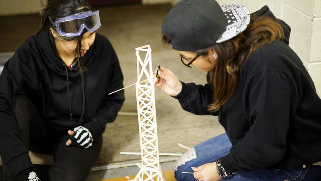 Ricardo Marquez and Alex Pineda from Hatch Valley Middle School compete at the 2017 Science Olympiad at Western New Mexico University.