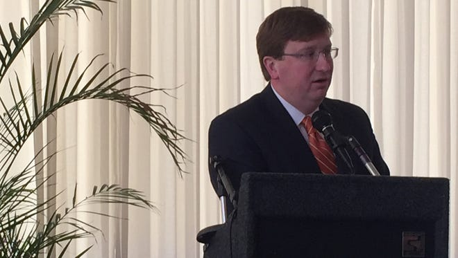 Lt. Gov. Tate Reeves speaks at the Stennis Capitol Press luncheon Monday afternoon. At the event, Reeves announced he no longer supports Common Core.