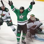 Dallas Stars right wing Patrick Eaves (18) celebrates a goal against Minnesota Wild goalie Devan Dubnyk (40) during the third period in game one of the first round of the 2016 Stanley Cup Playoffs at American Airlines Center in Dallas. The Stars shut out the Wild 4-0.